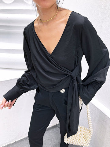 Feeble Praise Draped Top in Black