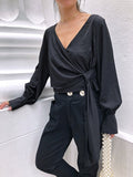 Intellectual Trends High Waisted Skinny Leg Trousers in Black