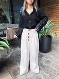 Mature Enough High Waisted Wide Leg Trousers in Taupe