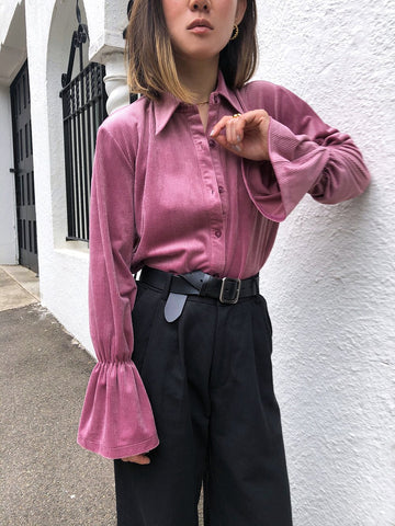 Love Someone Flared Sleeve Shirt in Pink