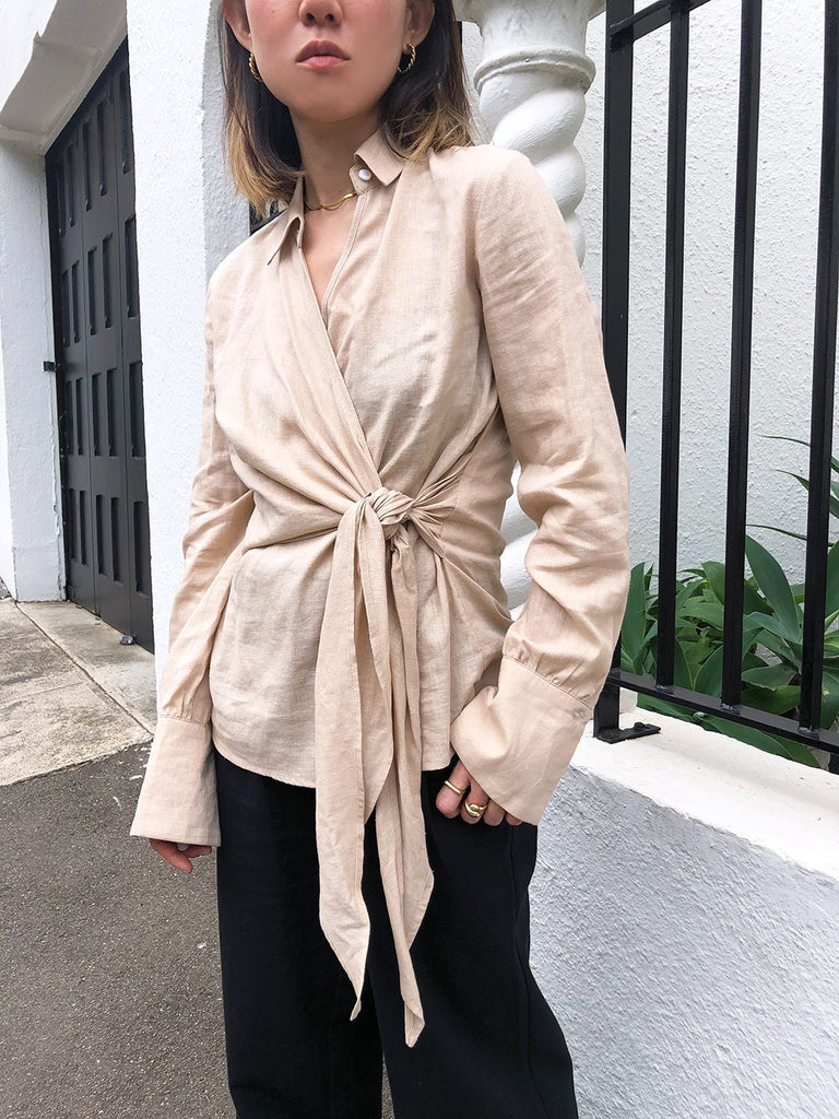 Fade Into You Linen Wrap Top in Tan