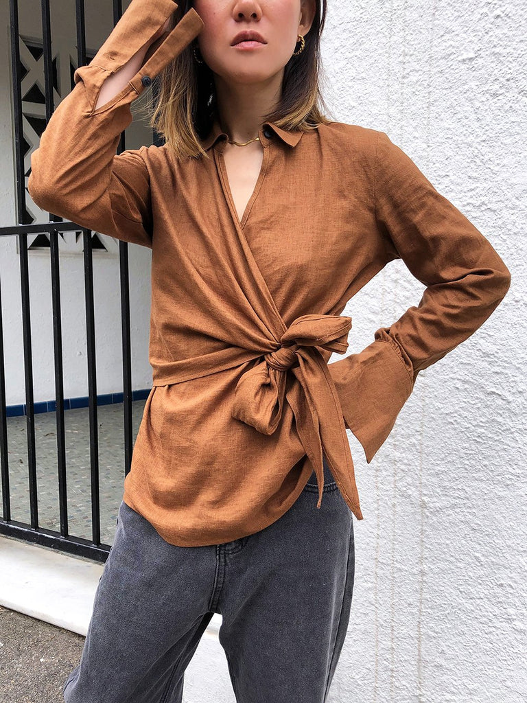 Fade Into You Linen Wrap Top in Chocolate Brown
