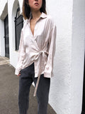 Modern Wisdom Satin Wrap Shirt in Beige