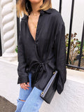 Modern Wisdom Satin Wrap Shirt in Black