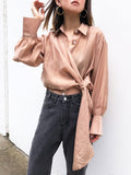 Not Shattered Tencel Drape Shirt in Latte