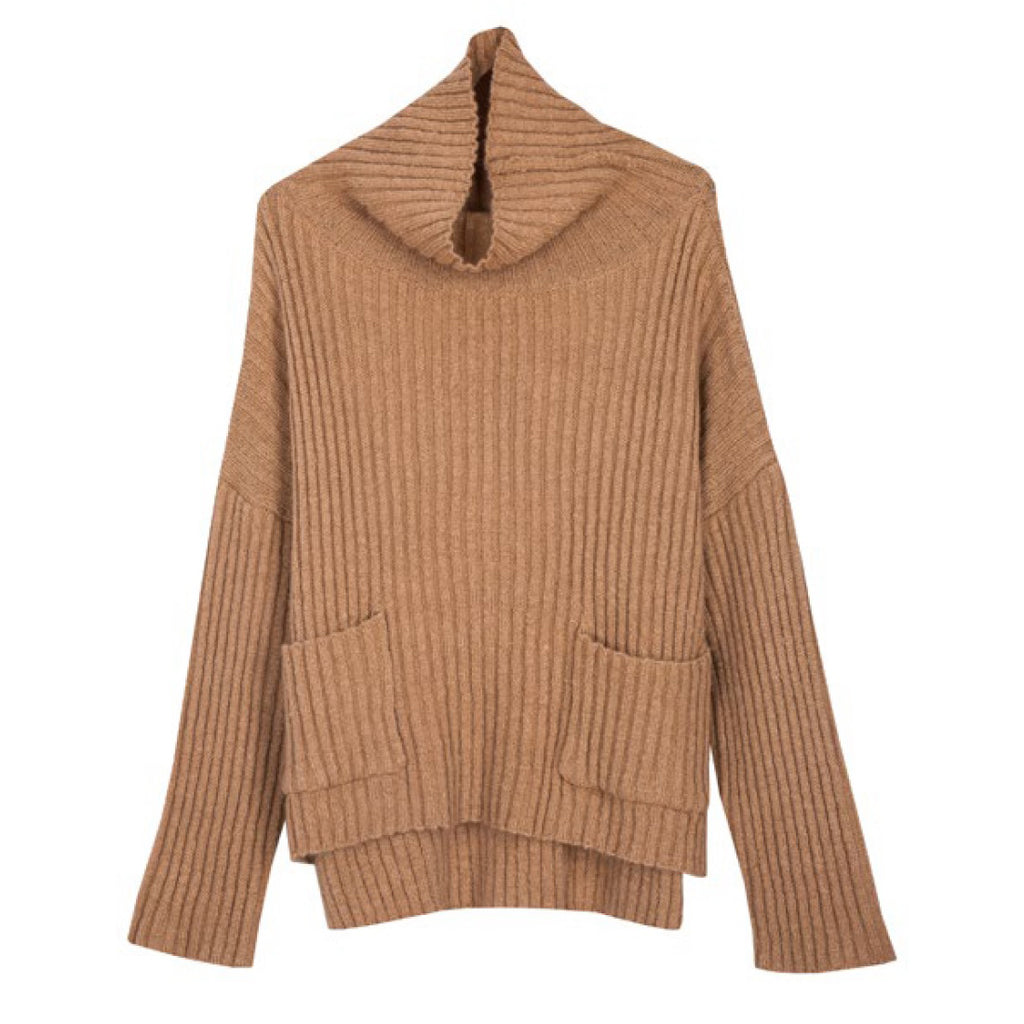 My Word For It Knit Oversized Ribbed Skivvy Jumper in Camel