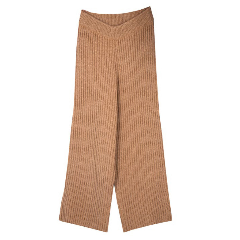 What They Wrote Knit Ribbed Cropped Culottes in Camel