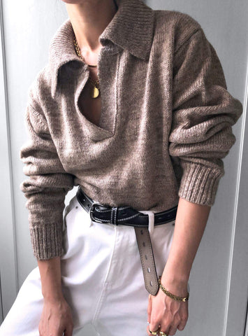 Sunset Lover Polo Knit Jumper in Brown