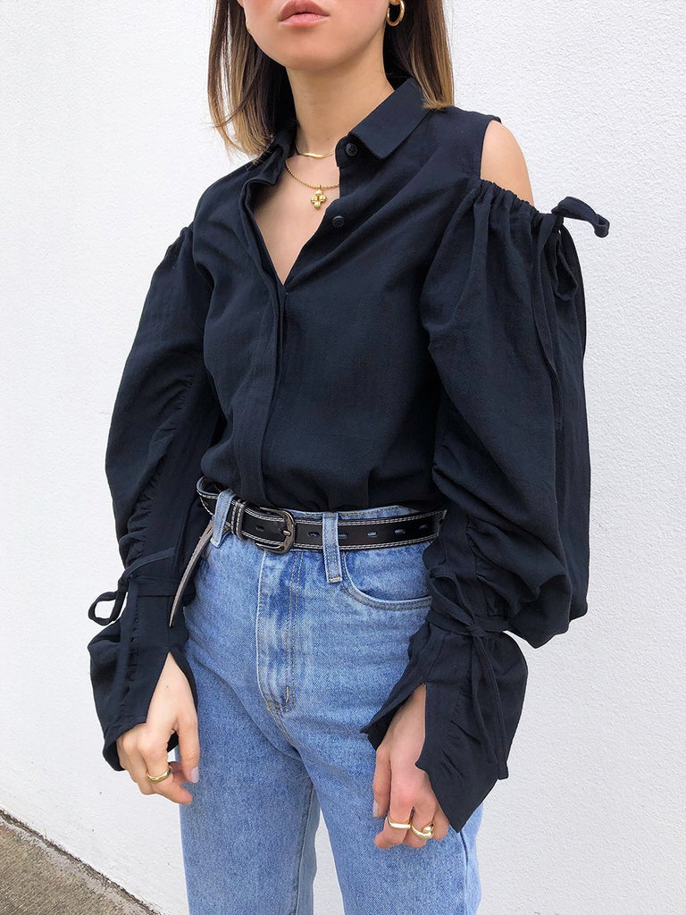 Out Of Sight Ruched Sleeves Shirt in Black