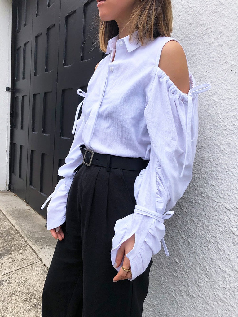 Out Of Sight Ruched Sleeves Shirt in White