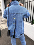 Fragmentary Open-back Denim Jacket in Blue