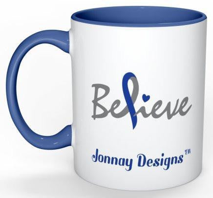 Believe Coffee Mug (Blue) - 11 oz-Coffee Mug-Jonnay Designs, LLC-Jonnay Designs™