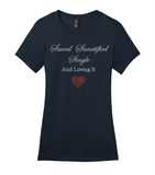 Saved Sanctified Single Glitter/Rhinestone T-Shirt-T-Shirt-Jonnay Designs LLC-S-Navy-Jonnay Designs™
