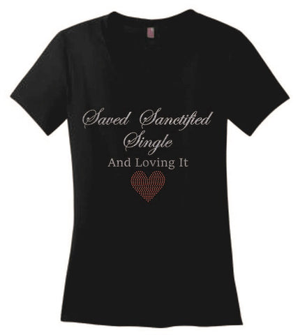 Saved Sanctified Single Glitter/Rhinestone T-Shirt-T-Shirt-Jonnay Designs LLC-S-Black-Jonnay Designs™