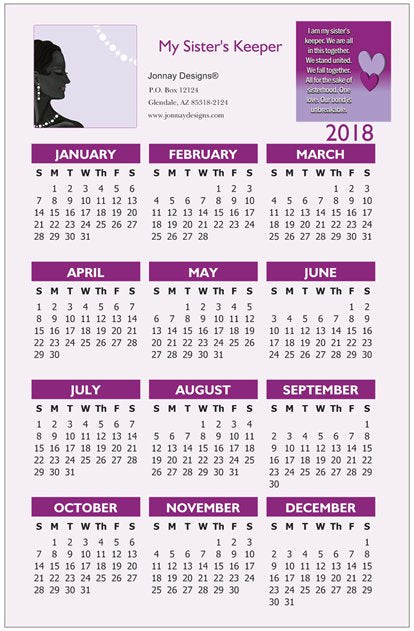 Sister's Keeper Wall Calendar (Purple)-Calendar-Jonnay Designs, LLC-Vertical - 17.30