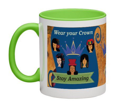 Wear Your Crown Coffee Mug (Blue) - 11 oz-Coffee Mug-Jonnay Designs, LLC-Jonnay Designs™