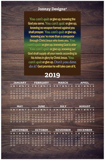 You Can't Quit Wall Calendar 2019