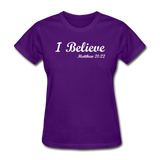 I Believe Women's T-Shirt - purple