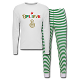 Believe Unisex Pajama Set - white/green stripe