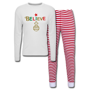 Believe Unisex Pajama Set - white/red stripe