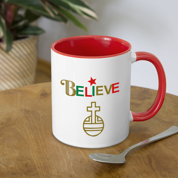 Believe Contrast Coffee Mug - white/red