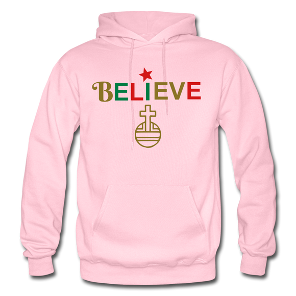 Believe Gildan Heavy Blend Adult Hoodie - light pink