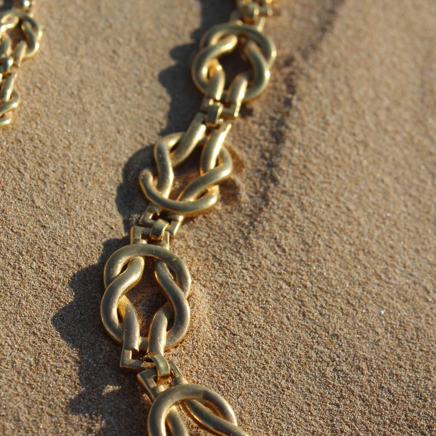 Big knot necklace brass base plated with 24 Karat gold