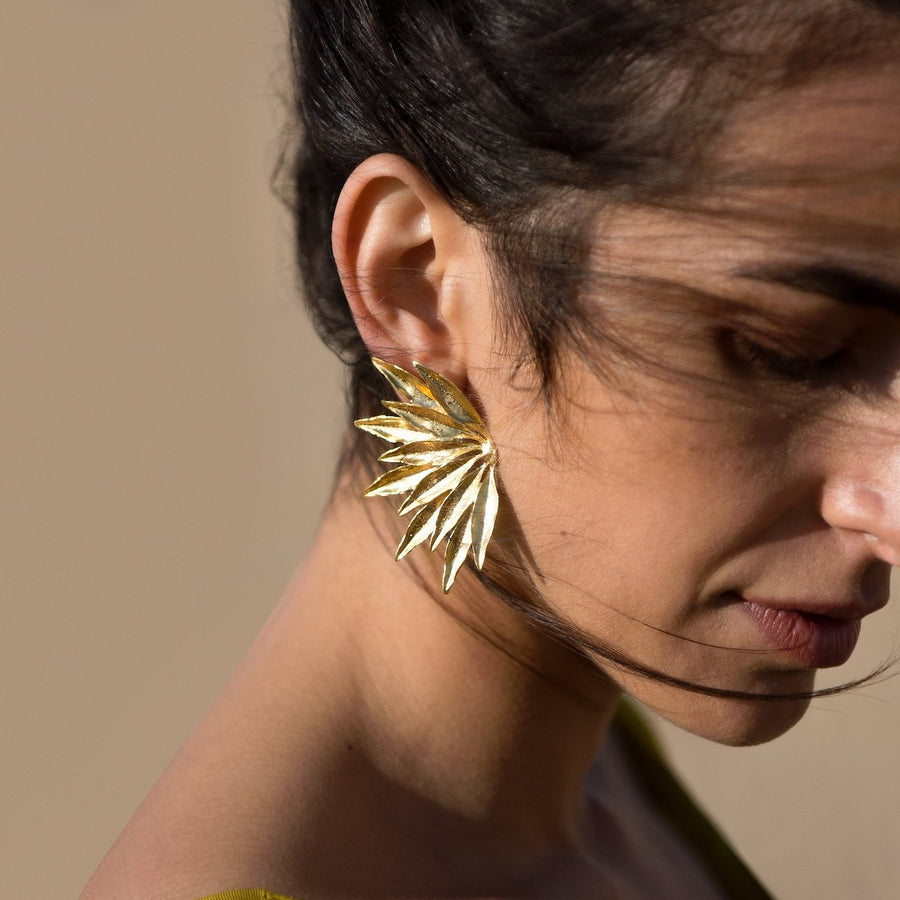 Dahlia earrings are Brass base plated with 24 Karat gold