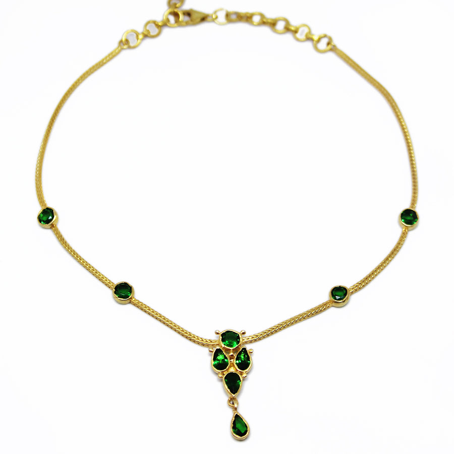 choker_emerlad_layering_goldplated_necklace_handmade_silver green stones