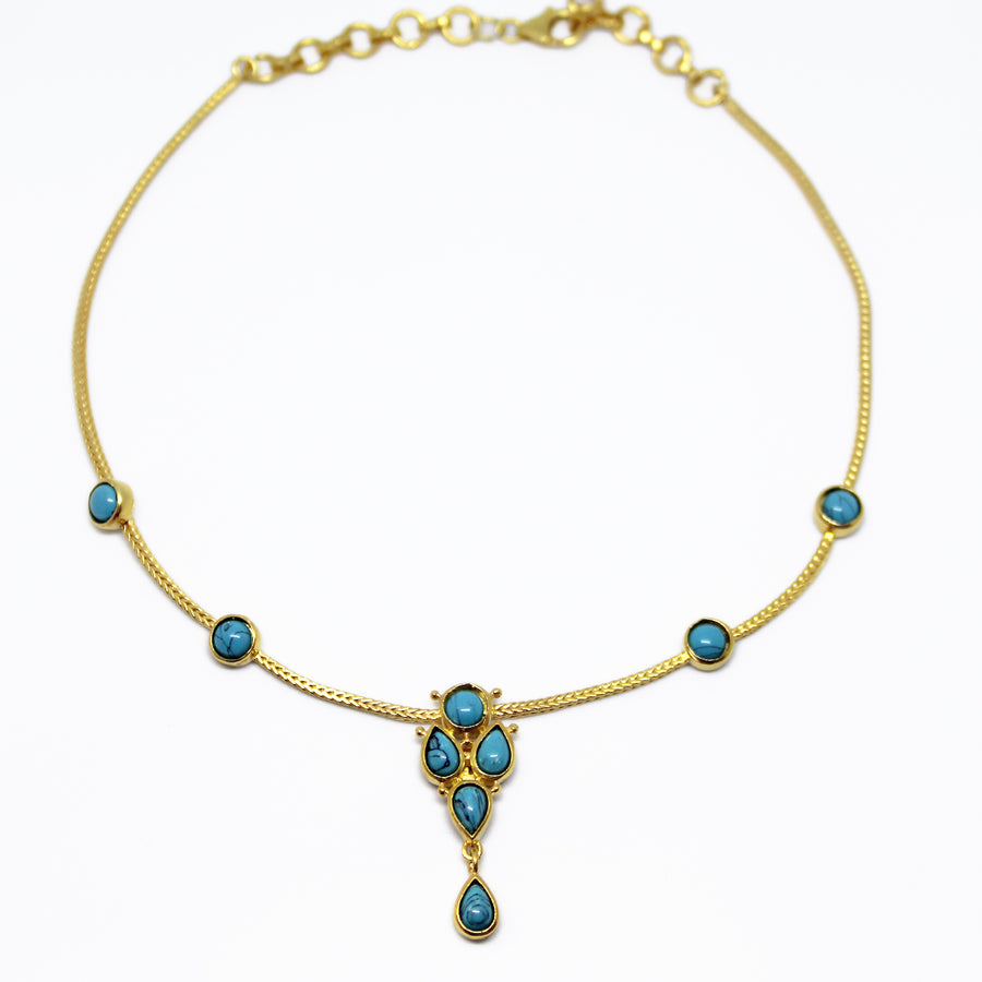 choker_emerlad_layering_goldplated_necklace_handmade_silver blue stones