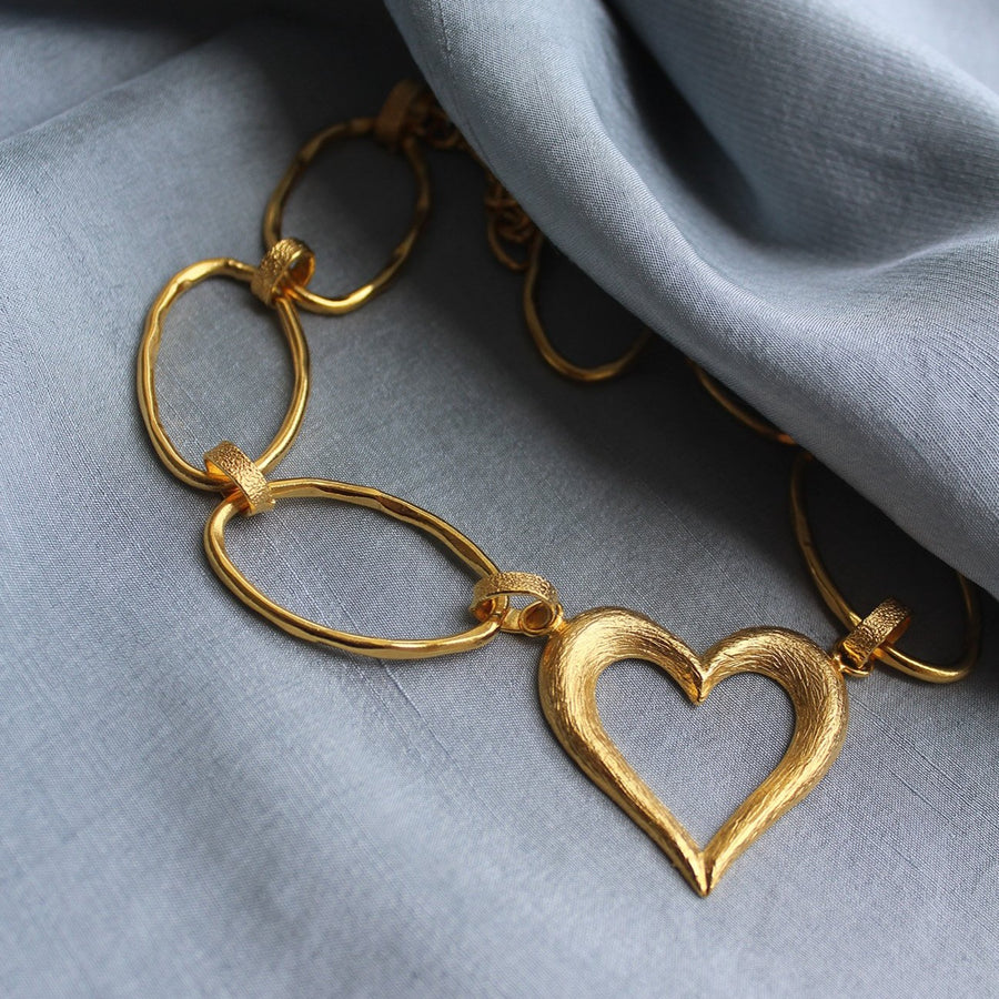 Heart 24K Gold Plated Choker