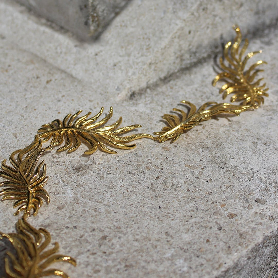 Dancing leaf choker - Brass base plated with 24 Karat gold