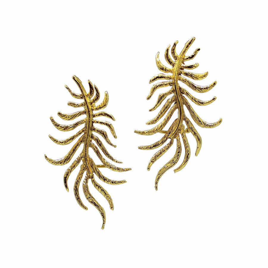 dancinf leaf earrings earcuff goldplated 24karat gold