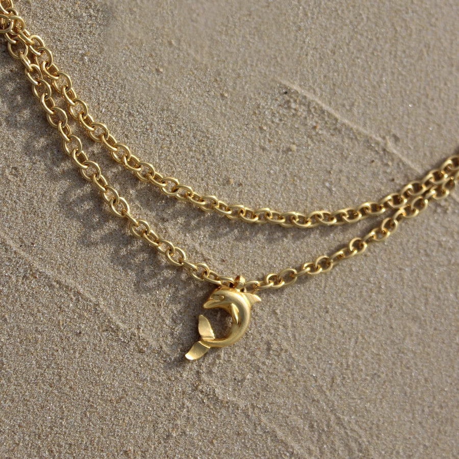 Dolphin Double Chain Necklace