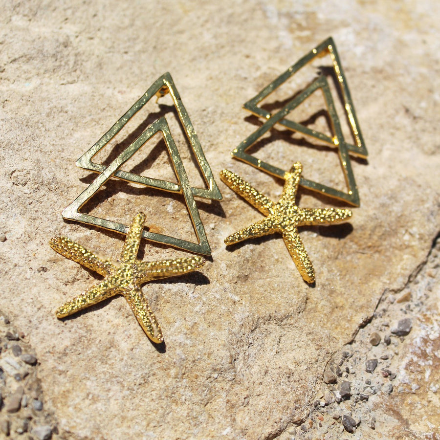 Earth fire starfish earrings