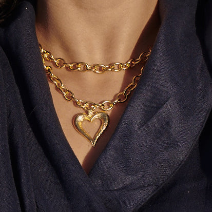 Heart Chained 24K Gold Plated Necklace