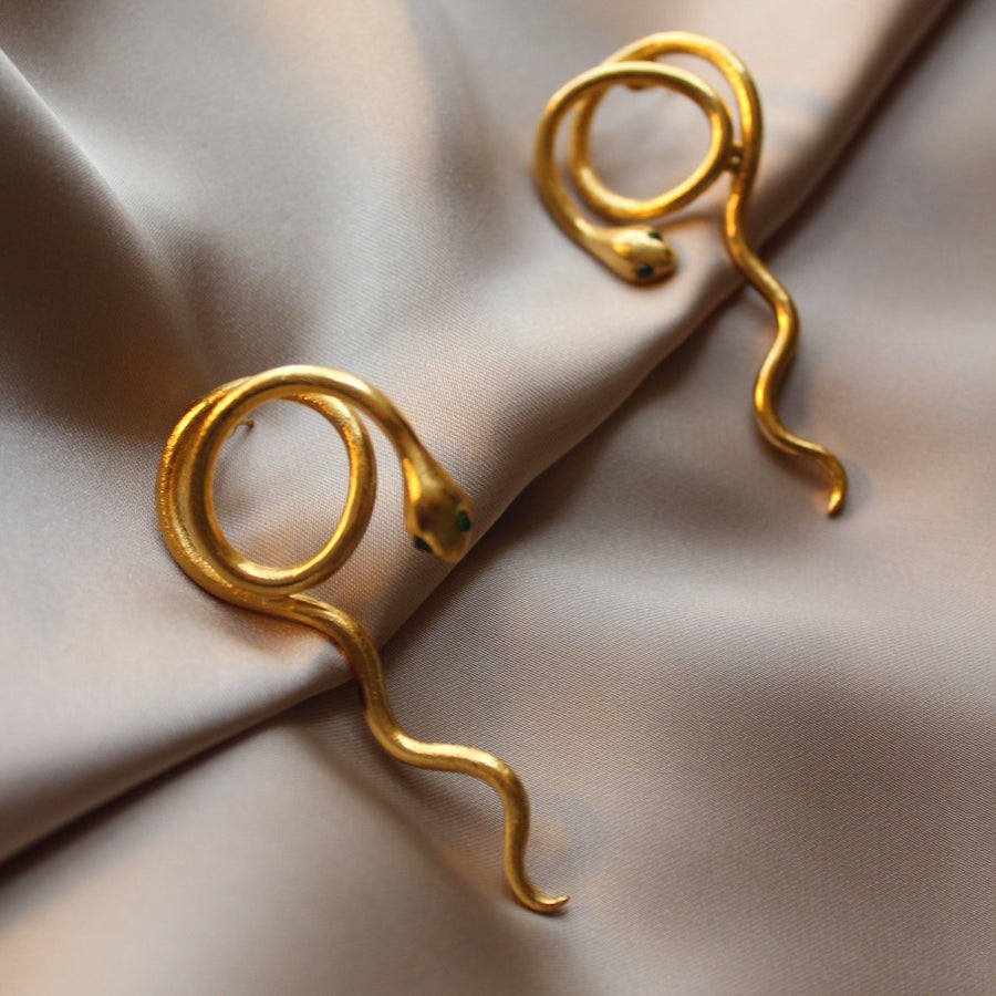 Snake earrings - 24 karat gold