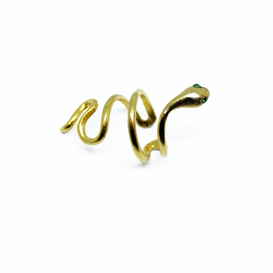 Snake ring emerald eyes gold plated handmade lebanon