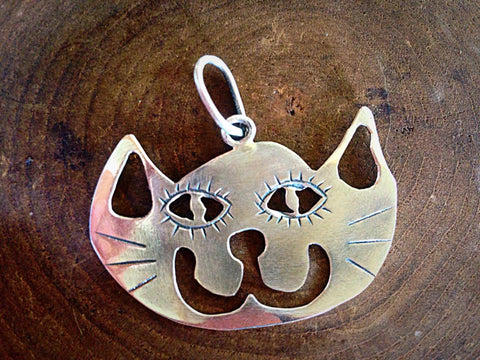 Happy Cat Face Silver Necklace