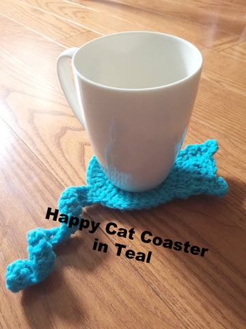 Happy Cat Coaster in Teal