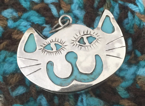 Happy Cat Face Sterling Silver on Turquoise Stone Pendant