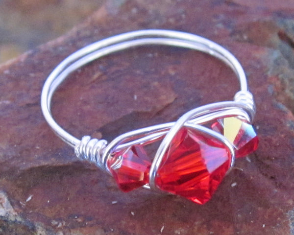 """Red"" Swarovski Crystal Wire Wrapped Ring 1pc (Custom Sizes)"