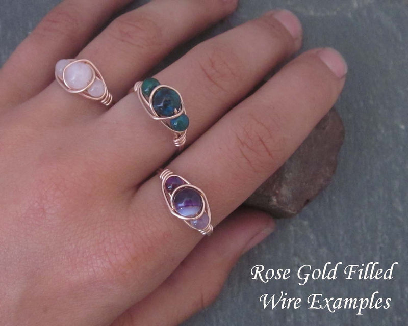 """Chrysocolla"" Wire Wrapped Ring 1pc (Custom Sizes)"