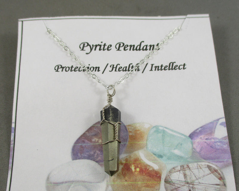 Pyrite Point Pendant Silver Wire Wrapped 1pc Z052