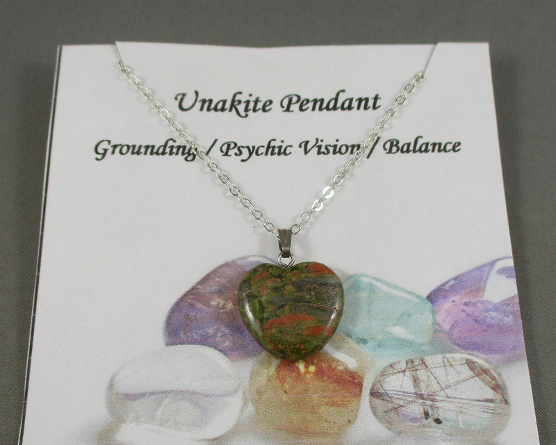 Unakite Heart Pendant 1pc