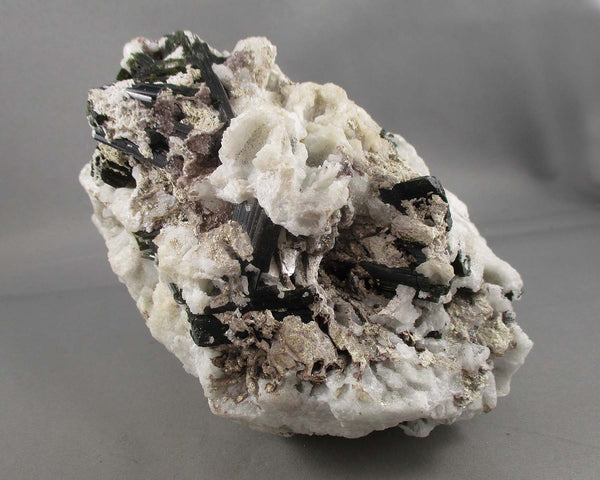 Albite Crystal with Green Tourmaline and Mica 1pc E001-2