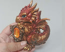 Large Copper Dragon with Crystal 1pc A074