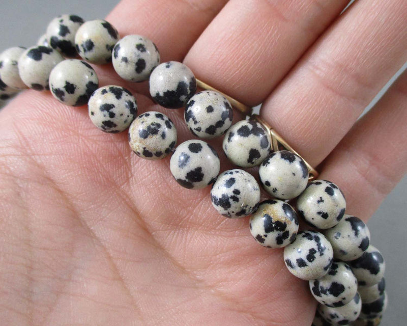 Dalmatian Jasper Bead Strand Round Various Sizes