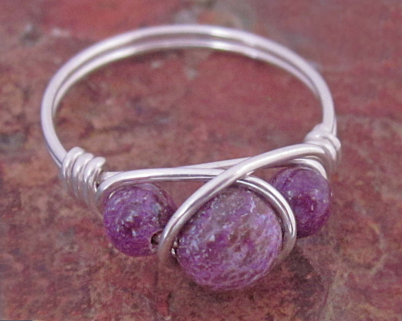 charoite wire wrapped ring