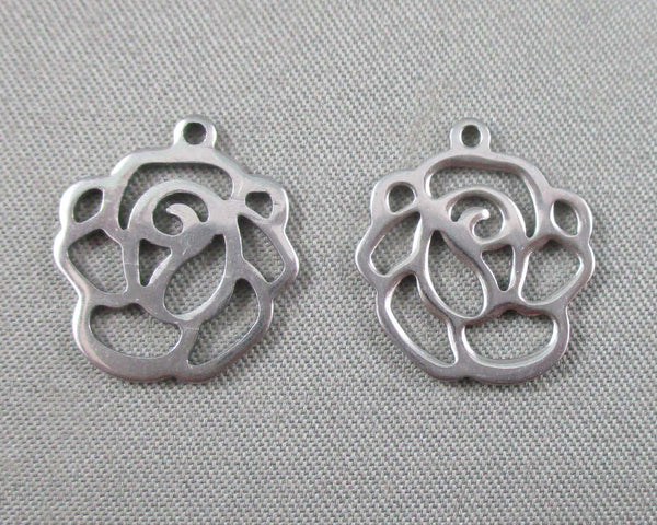 Rose Charms Stainless Steel 5pcs 14x16mm  (0325)